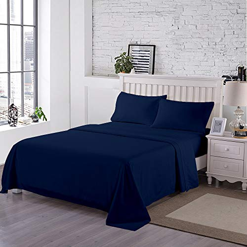 Curl Up 300-Thread-Count 100% Egyptian Cotton 4 Piece Sheets Set - Luxury Hotel Sheets Long Staple Combed Cotton Bedding Sheets Sateen Weave Fits Mattress Upto 15