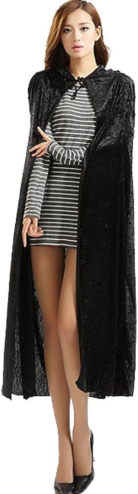 Urban CoCo Womens Costume Full Length Crushed Velvet Hooded Cape