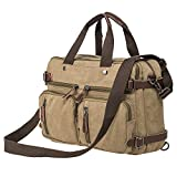 HIKA Vintage 3-Way Convertible Briefcase Laptop Backpack Messenger Bag Backpack-Vintage Khaki