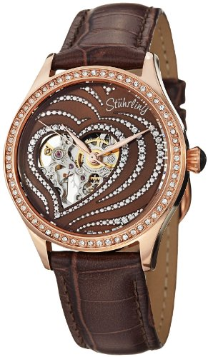 Stuhrling Original Women's 429.2245K59 Amour Aphrodite Temptation Automatic Skeleton Swarovski Crystals Brown Leather Strap Watch