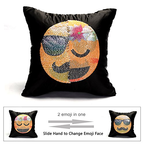Emoji Sequin Pillow Case Face Changeable Mermaid Throw Cover Decorative Square Reversible Cushion Pillowcase 16
