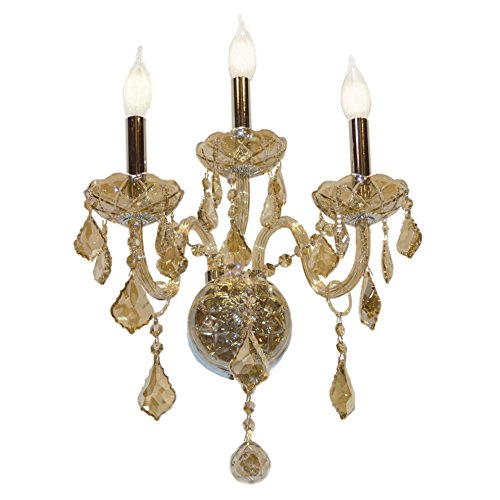 Worldwide Lighting Provence Collection 3 Light Chrome Finish and Golden Teak Crystal Candle Wall Sconce 13