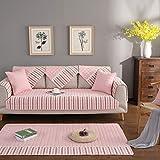 YQ WHJB Cotton Sofa Cover Protector,Anti-Slip Sofa Towel,Four Seasons Sofa Cushioning Bay Window pad Couch Protector for Dog-Pink 110x210cm(43x83inch)