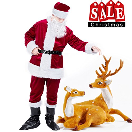 Night Before Christmas Costumes (Dolloly Santa Suit Adult Christmas Costume Suit 6 Piceces)