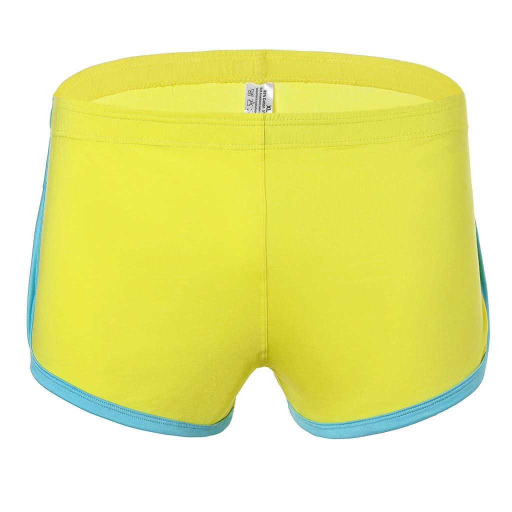 NUWFOR Men's New Summer Cotton Fitness Fast-Drying Sweat-Absorbing Bodybuilding Shorts(Yellow,US:M Waist30.7-33.1'')