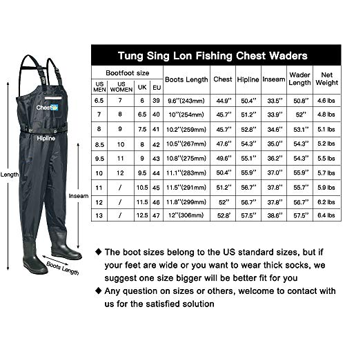 Tung Hsing Lon Fishing Chest Waders for Men with Felt Cleated Bootfoot Hunting Waders Fishing Overalls Waterproof and Breathable (11)