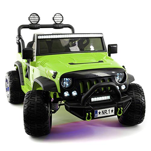 Moderno Kids Explorer 2 (Two) Seater 12V Power Children Ride-On Car Truck with R/C Parental Remote + EVA Rubber LED Wheels + Leather Seat + MP3 Music Player Bluetooth FM Radio + LED Lights (Green)