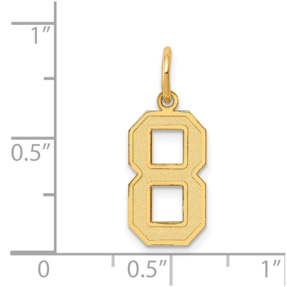Number 8 Pendant Eight Digit Charm Satin 14K Yellow Gold
