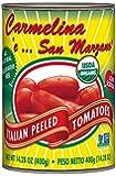 Carmelina San Marzano Organic Italian Whole Peeled Tomatoes in Puree, 14.28 ounce (Pack of 12)