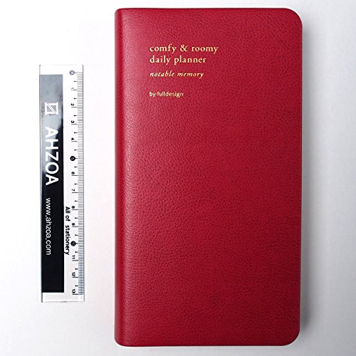 2018 Memory Long Dated Monthly Daily Planner With AHZOA Mini Ruler, Date Is Printed, Diary Handy Size (red)
