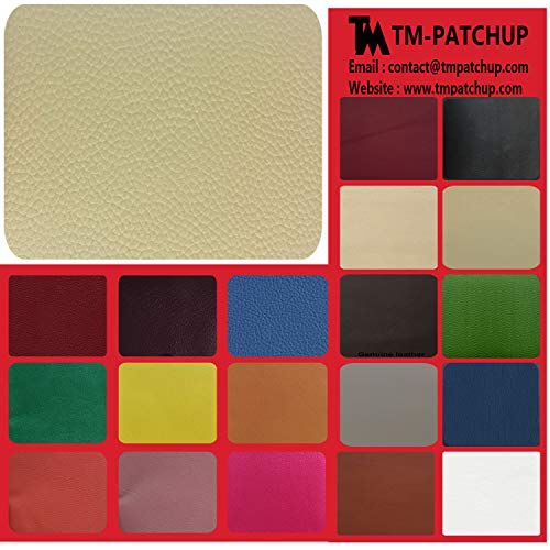TMpatchup Genuine Leather and Vinyl Repair Patches Kit - Grain Self Adhesive Leather to Repair Furniture, Couch, Sofa, Jacket - Multiple Colors and Sizes Available (3-inch x 3-inch) (Medium Beige)