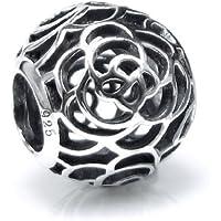 .925 Sterling Silver Round Rose Flower Filigree Bead for European Chamilia Biagi Troll Pandora Charm Bracelets
