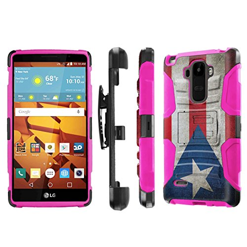 LG G Stylo [LS770 H631] Armor Case [NakedShield] [Black/Pink] Heavy Duty Armor [Holster with Kickstand] Phone Case - [Flag Puerto Rico] for LG G Stylo LS770 -  P-LGLS770-1E7-BKHP-CBT-N272