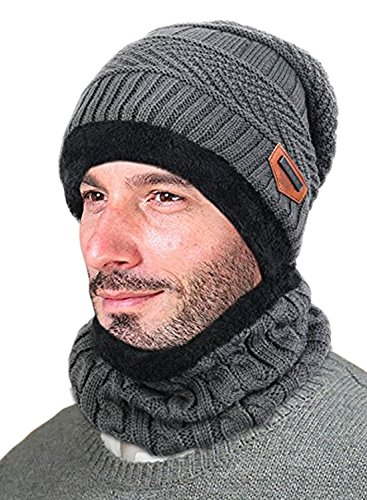c8c4f27fb93 T WILKER Beanie Hat Scarf Set Knitted Hat Soft Stretch Cable Warm Fleece  lining Cap