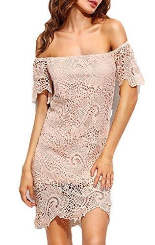 1fe800a44b19 Damen Kleid LOBTY Sommer Kurz Etuikleid Spitzekleid Sommerkleid Minikleid  Abendkleid Cocktailkleid Partykleid Spitze Eng Schulterfrei Rückenfrei