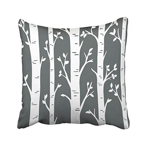 Emvency 18X18 Inch Decorative Throw Pillow Cover Polyester Black Birch Aspen Tree Forest Design Custom Wall Decals For Woodland Room Interior White Cushion Two Sides Pillow Case Square Print For Home