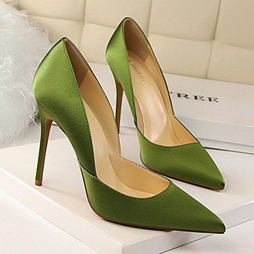alto Satén tacón Acentuados con Zapatos Profundo De zapatos Estilo Green De De Bajo Tacón Moda Fresco Huecos Mujer Yukun Alto De Tacón de De awEtqLK1