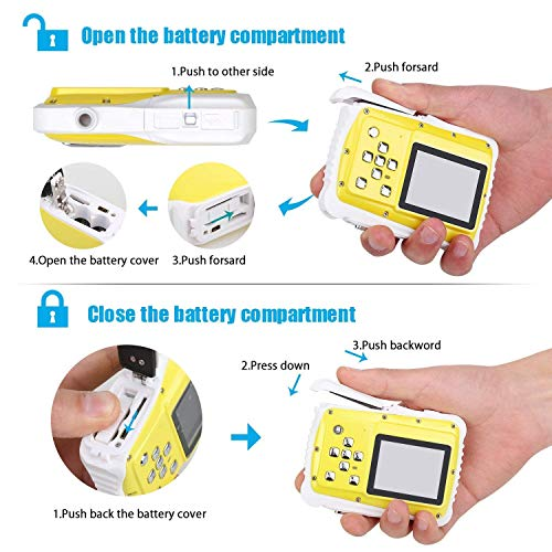 Kids Camera Underwater Digital Camera-IP68 Waterproof Toddler Camera,Video Recorder Action Preschool camera,2.0 Inch LCD Display,16G TF Card Floating Wrist Strap,8X Digital Zoom, Flash and Mic for Kid by L8star (Image #2)