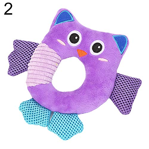 mage2pnper Dog Toys, Cute Round Animal Frog Owl Duck Sound Squeaky Pet Dog Chewing Teeth Cleaning Toy - Owl ()