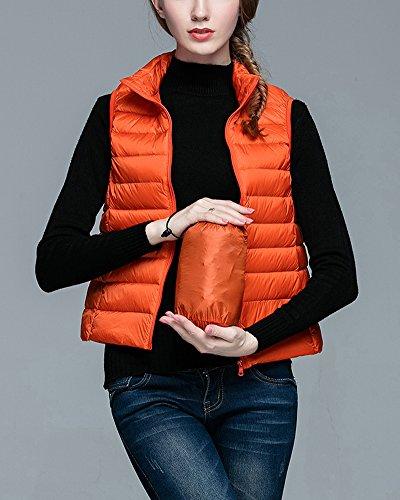 Down Plumón Chalecos Ligero Acolchado Chaquetas Chaleco de Mujer Plegable Naranja qx8RxgtY