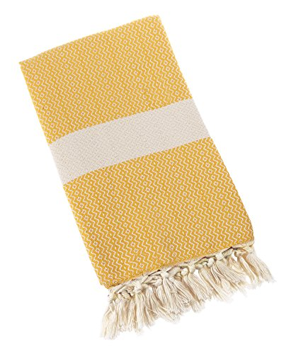Price comparison product image Eshma Mardini Natural Turkish Towel Peshtemal - 100% Natural Dyed Cotton - for Beach Spa Bath Swimming Pool Hammam Sauna Yoga Pilates Fitness Gym Picnic Blanket - ( Yellow )