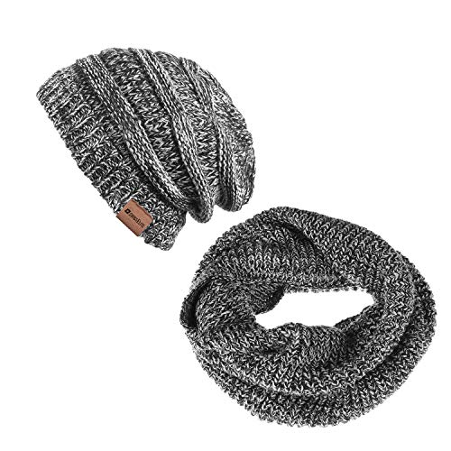 Cable Knit Hat Scarf - Knit Cable Beanie Hat Scarf Winter Warm Scarves Set Thick Warm Slouchy Knit Cap for Men Women