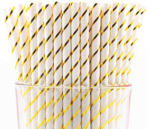 (Pack of 150 Biodegradable Gold Swirls Paper Drinking Straws (Compostable, Non-toxic, BPA-free))