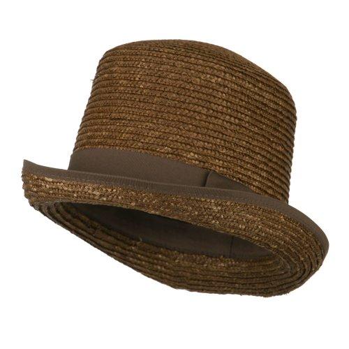 Braid Stingy Brim Fedora (Wheat Braid Top Hat Fedora - Brown)