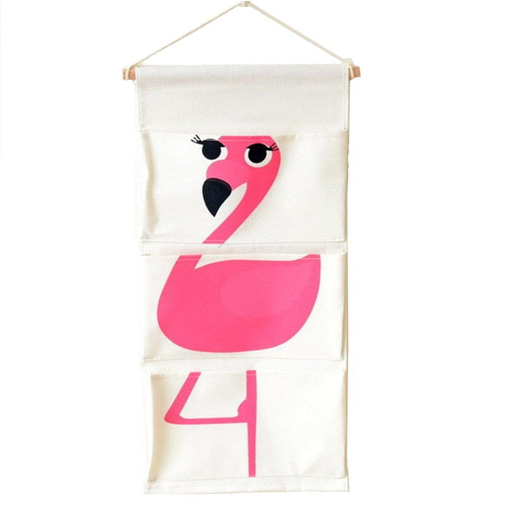 MSFGJZM Children 3-Pocket Hanging Wall Organizer, Animal Printed Cotton Storage Toiletry Bag (Flamingo)