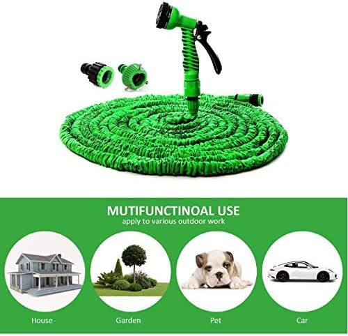 FEJK Erweiterbarer Magic Flexible Garden Wasserschlauch für Autoschlauch Rohr Kunststoffschläuche zum Bewässern mit Spray Teleskop Wasserpistole 200Ft