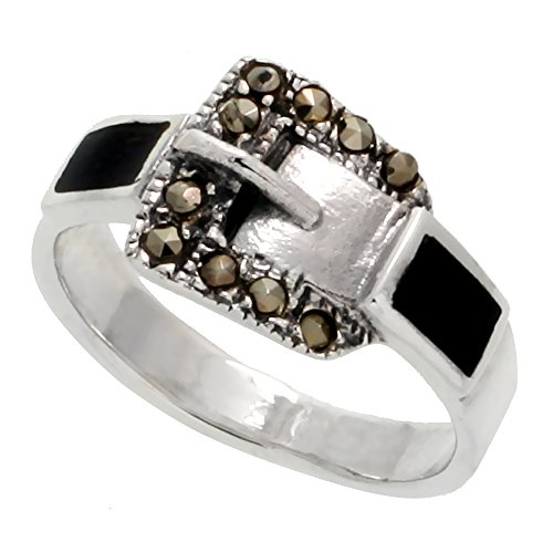 Sterling Silver Marcasite Belt Buckle Jet Stone Ring, 3/8 inch (9 mm) wide, size 7.5 ()