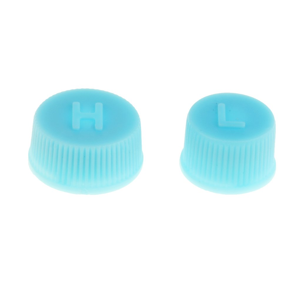MagiDeal 1 Pair Air Conditioning R134a Charging Service High Low Side Port Caps Blue