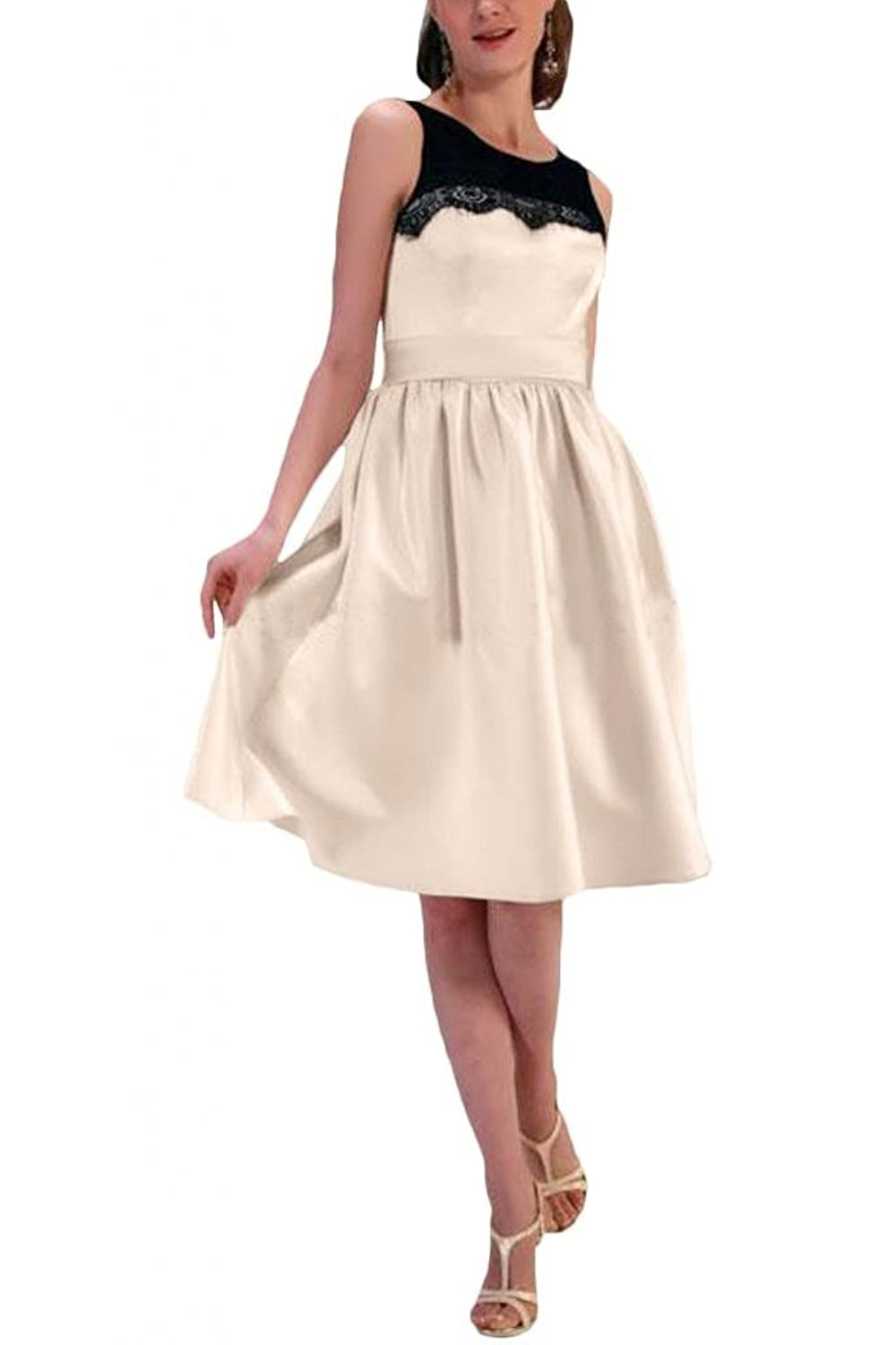 Gorgeous Bride Women's Short Formal Dress Sleeveless Satin and Lace