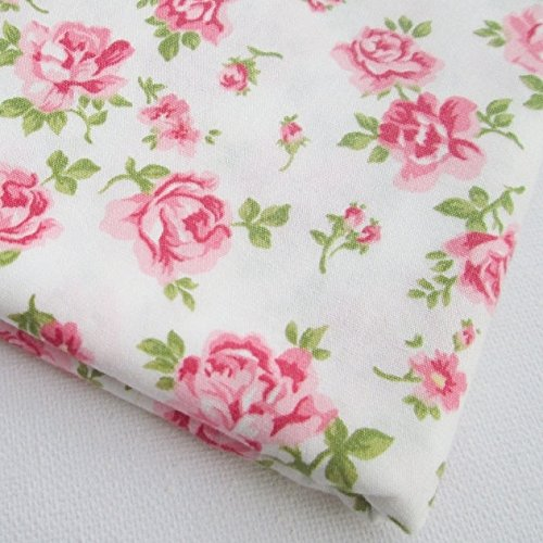 Pink Rose Cotton Fabric Vintage White Sweet Pink Fabrics 36 by 36-Inch Wide (1 Yard) (CT514)