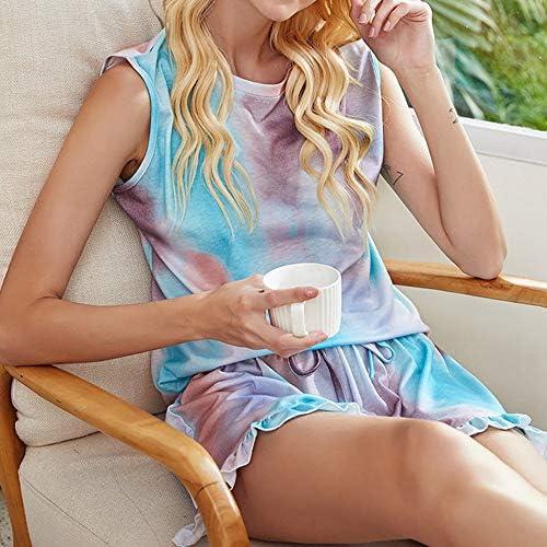 GOSOPIN Damen Pyjama Set Kurzarm Damen Schlafanzug Tie-Dye-Stil oder einfarbig kurz Pyjama Top und Hose Nachtw/äsche Nachthemd Zweiteilige Sleepwear Nightwear Soft Hauskleidung Zuhause Kleid Sommer