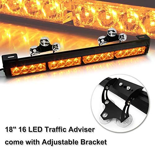 "18"" High Intensity Law Enforcement Traffic Advisor Hazard Emergency Warning Strobe Light Bar Kits for Truck Undercover Vehicle w/Adjustable Large Suction Cup Bracket (Abmer)"