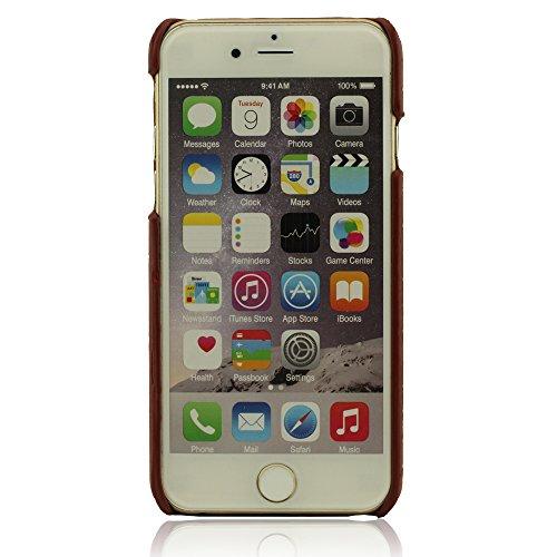 Dur Rigide iPhone 6 Coque, iPhone 6S Coque - Rouge sombre, Housse Étui Case Cover pour iPhone 6 / 6S 4.7 Pouce, Animal Pelle Grano Apparence, Métal Bague Conception Titulaire Fonction, Crâne Apparence
