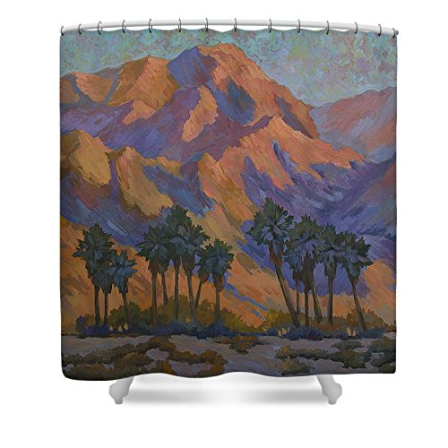 Pixels Shower Curtain (74'' x 71'') ''Palm Oasis At La Quinta Cove''
