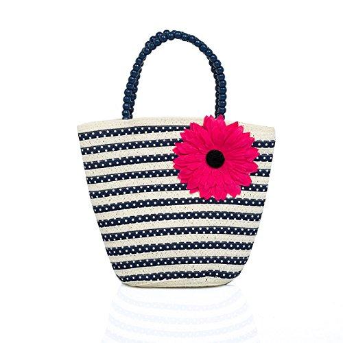 Boutique, Cute Divertido Novedad Niña Paja Bolso De Mano, Múltiple Diseños Floreado Rayas