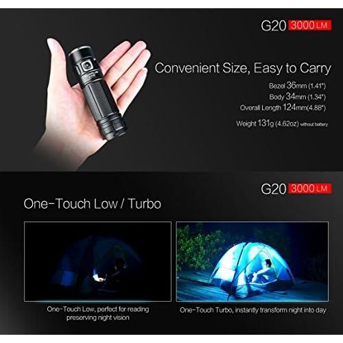 Klarus G20CREE Next Gen XHP70N4LED 3000Lumens Lampe de poche rechargeable Double interrupteur Mini lampe avec batterie 5000mAh 26650Li-Ion + lampe Thenines USB