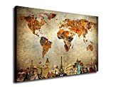 "yearainn Vintage World Map Canvas Art Painting Wall Decor Contemporary Pictures Canvas Prints Modern Artwork Framed Ready to Hang for Living Room Bedroom Home Interior Decorations 24"" x 36"""