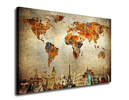 yearainn Vintage World Map Canvas Art Painting Wall Decor Contemporary Pictures Canvas Prints Modern Artwork Framed Ready to Hang for Living Room Bedroom Home Interior Decorations 24