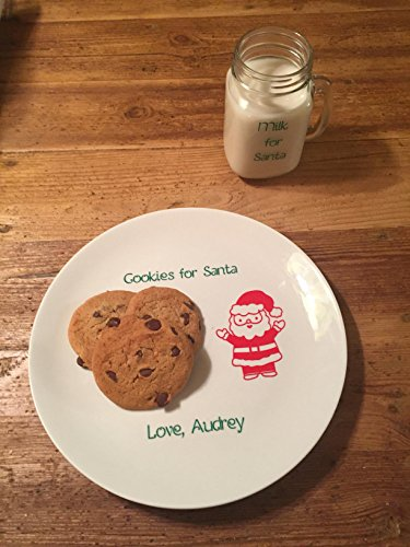 Cookies for Santa plate and mug set, milk for santa set, personalized Santa's cookies plate.