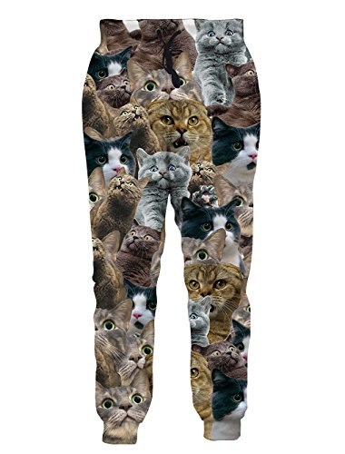 Leapparel Men's Unisex 3D Printed Casual Sports Jogger Pants with Drawstring Galaxy Graphric Baggy Sweatpants (M, Cat)