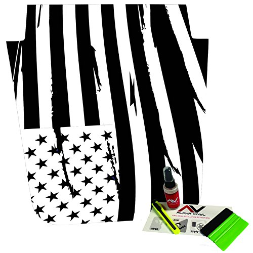 Distressed American Flag Freedom USA Jeep Wrangler JK Hood Blackout Decal Fits 2007-2016 w/ install kit (Kit Decal Hood)