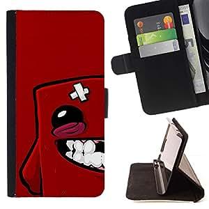 Momo Phone Case / Flip Funda de Cuero Case Cover - Red Blob Face - Sony Xperia Z5 5.2 Inch (Not for Z5 Premium 5.5 Inch)