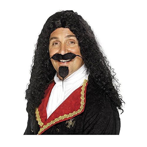 Mens Pirate Costume Wig Adult Captain Hook or Morgan Halloween Fancy Dress