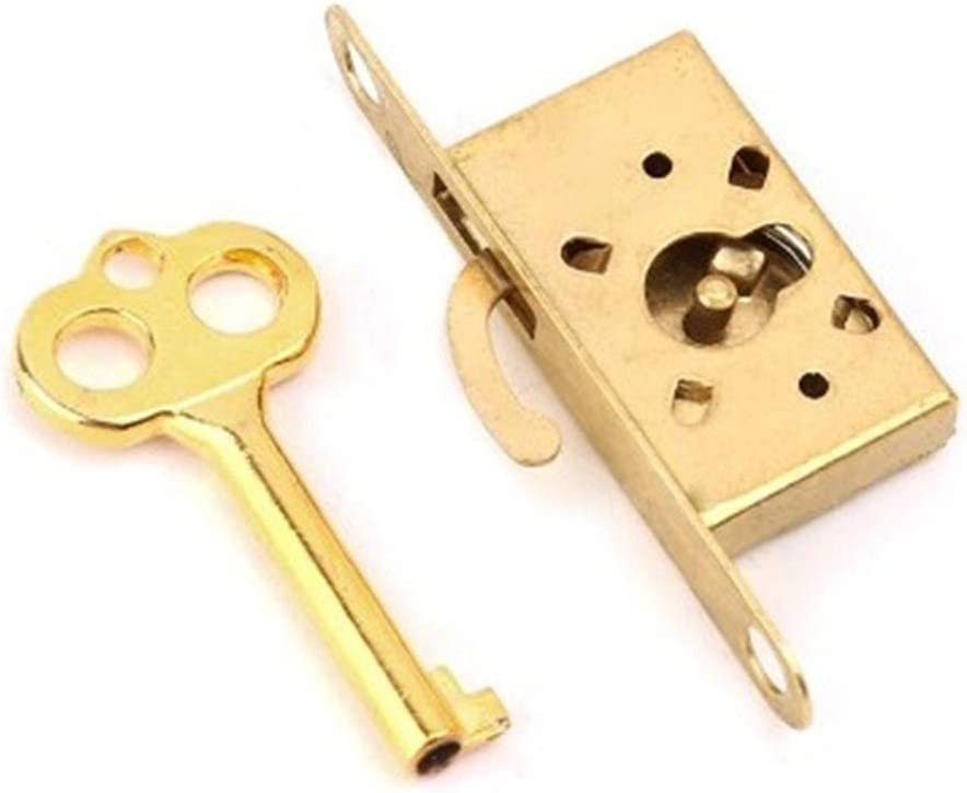 Easy Installation 1 Set of Gold Lock Drawer Cabinet Wardrobe Cabinet Door Lock Antique Furniture Counter Drawer Lock with Key Stainless Steel