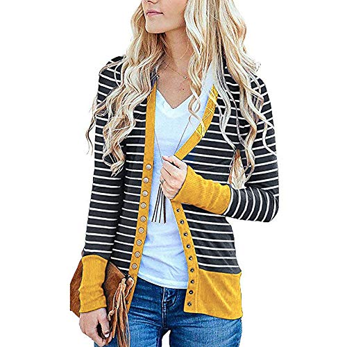 - Women's Fashion Cardigan, Wugeshangmao Ladies Stripe Print Button Down Pocket Coat Jacket Female Open Front Cardigan