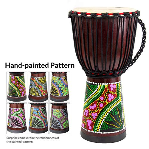 - African Drum, Hand-Carved Bongo Congo Djembe Drum 10'' x 20'' Mahogany Goatskin Drumhead for Children Starter Beginners